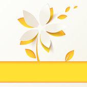 žlutý papír květina vektorové přání šablona — Stock vektor