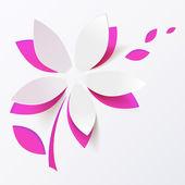 Plantilla de tarjeta de felicitación de papel rosa flor vector — Vector de stock