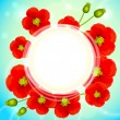 Red poppy flowers vector round background — Stock Vector