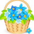 Vector basket of blue flowers — Stock Vector
