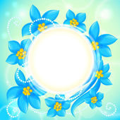 Vector circle of blue flowers greeting card — Stock Vector