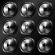 Metallic sound buttons vector set - Stock Vector