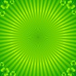 Stock Vector: Green radial stripes background with clovers