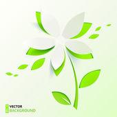 Green paper cutout vector flower — Stock Vector