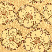 Vector ornate poppy flowers seamless pattern — Stock Vector