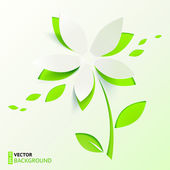 Green paper cutout vector flower — Stok Vektör