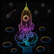 Royalty-Free Stock Imagen vectorial: Vector ornate doodles rocket starting to space
