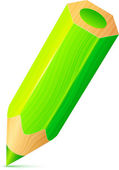 Vector cute green wooden little pencil — Stock Vector