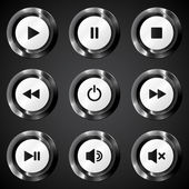 Black metallic vector power buttons set — Stock Vector