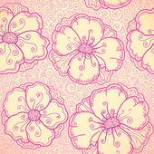 Modello senza giunte di vector ornato di fiori rosa — Vettoriale Stock