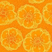 Modello senza giunte di vector ornato di fiori d'arancio — Vettoriale Stock