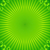 Green radial stripes background with clovers — Stock Vector