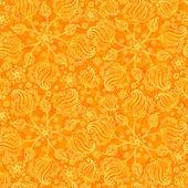 オレンジ色の抽象的な落書き花シームレスなパターン — ストックベクタ