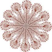 Colores henna vector doodle pavo real plumas círculo — Vector de stock