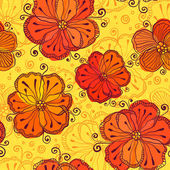 Orange doodle flowers vector seamless pattern — Stock Vector
