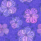 Violet doodle flowers vector seamless pattern — Stock Vector