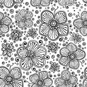 Black and white ink painted vector flowers — Stock Vector