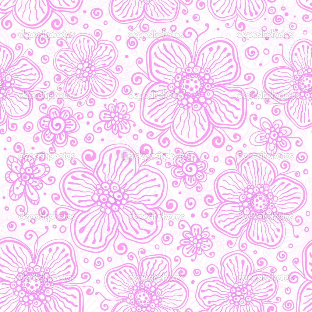 淡粉色花边蓬勃发展无缝模式