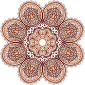 華やかな民族ヘナの色ベクトル マンダラ — ストックベクタ