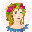 Stock Vector: Pretty girl hand-drawn vector face in flowers