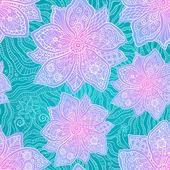 Dantelli mavi zemin üzerine süslü mor çiçekler — Stok Vektör