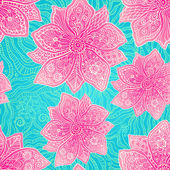 богато украшенный фиолетовыми цветами на синем фоне лейси — Cтоковый вектор