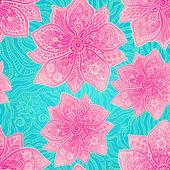 Utsmyckade violetta blommor på lacy blå bakgrund — Stockvektor