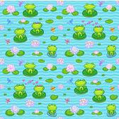 Little green frogs in cartoon style — Stock Vector