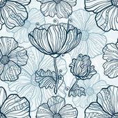 Monochromatic poppy flowers seamless pattern — Stock Vector