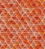 華やかな手で描かれた茶色の三角形のパターン — ストックベクタ