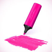 Pink vector marker with drawn spot — Stockvector