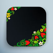 Black rounded square icon with floral ornament — Stock Vector