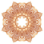 Sierlijke vintage beige vector doodle cirkel patroon — Stockvector