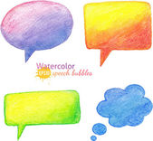 Vector bright watercolor pencils speech bubbles — Stock Vector