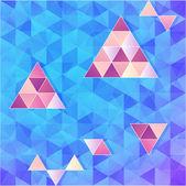 Blauwe en roze vector driehoeken achtergrond — Stockvector