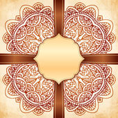 Ornate vector vintage background with brown ribbon — Stock Vector