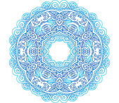 Ornate blue lacy vector circle pattern — Stock Vector