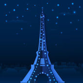 Blue cutout paper night vector Eiffel tower — Stock Vector