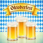 Oktoberfest vector greeting card with beer — Stock Vector