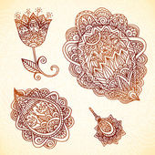 Ornate vintage vector elements in Indian style — Stock Vector
