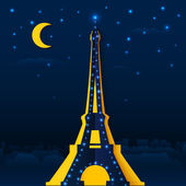 Cutout paper night Eiffel tower — Stock Vector
