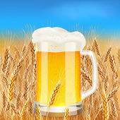 Light beer mug on sunny summer field — Stock Vector