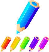 Conjunto de vectores de lápices de colores brillantes — Vector de stock