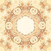 Ornate vintage vector pattern in mehndi style — Stock Vector