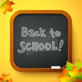 Back to school autumn chalkboard vector card — Stock Vector