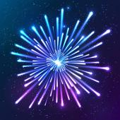 Bright neon vector firework — Stock Vector