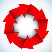 Czerwone strzałki zamknięte koło wektor — Wektor stockowy