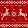 Christmas knit in Norway style with horses — Stock Vector