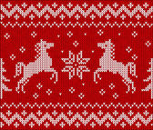 Christmas knit in Norway style with horses — Vetor de Stock