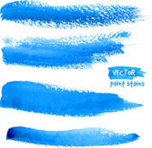 Bright blue watercolor brush vector strokes — Stock Vector